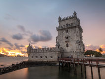 Torre de Belem on the bank of Tagus river in Lisbon, Portugal, a Royalty Free Stock Photos