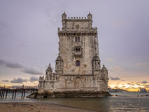 Torre de Belem on the bank of Tagus river in Lisbon, Portugal, a Royalty Free Stock Image