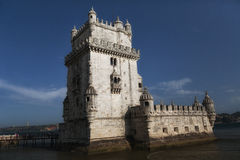 Torre de Belem (Belem Tower) on the Tagus River guarding the ent Royalty Free Stock Photo