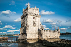 Torre de Belem (Belem Tower). On the Tagus River guarding the entrance to Lisbon in Portugal Royalty Free Stock Photography