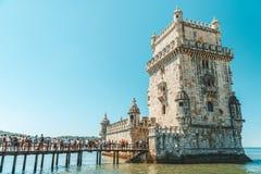 Torre de Belem del santo Vincent Torre de Belem Is una torre fortificada y sitio del patrimonio mundial de la UNESCO construido e fotografía de archivo libre de regalías