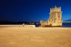 Torre de Belem i Lissabon på natten Royaltyfri Foto