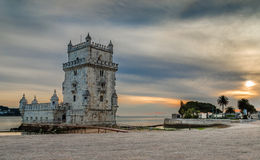 Torre de Belem, Lisbon. Torre de Belem is fortified medieval tower located at the mouth of the Tagus River in Lisbon, Portugal. Was built in the early 16th royalty free stock photo