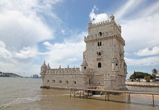 Torre de Belem in Lisbon Portugal. Torre de Belem is a fortified tower in Lisbon Portugal. The tower was build in the earth 16th century and formed part of the Stock Image