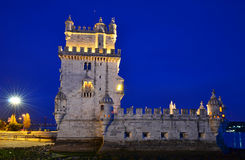 Torre de Belem in Lisbon, Portugal landmark. Belem Tower (Torre de Belem) is a fortified tower located at the mouth of the Tagus River in Lisbon, Portugal Royalty Free Stock Photo