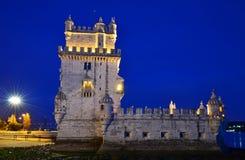 Torre De Belem in Lissabon, Portugal Grenzstein Lizenzfreies Stockfoto