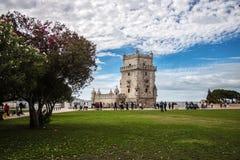 Torre de Belem - sławny punkt zwrotny Lisbon, Portugalia Fotografia Stock