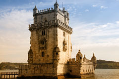 Torre de Belem. (Belem Tower built 1515-1521) on the Tangus River guarding the entrance to Lisbon in Portugal. This tower is one of the most famous buildings in royalty free stock photo