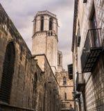 Torre de Bell da catedral de Barcelona imagem de stock royalty free