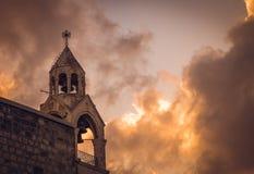 Torre de Bell da igreja da natividade, Bethlehem, Palestina fotografia de stock royalty free