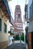 Torre de Bell dentro de Poble Espanyol em Barcelona, Catalonia, Espanha Foto de Stock