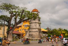 Torre de Bell histórica feita da cidade de Coral Stones - de Dumaguete, Negros oriental, Filipinas Fotos de Stock Royalty Free