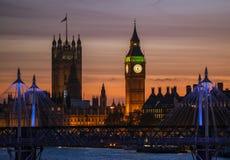 Torre de Big Ben y abadía de Westminster Foto de archivo