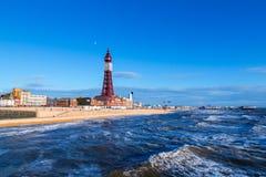 Torre de Blackpool, del embarcadero del norte, Lancashire, Inglaterra, Reino Unido Fotografía de archivo