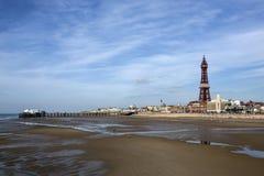 Torre de Blackpool e cais norte - Blackpool - Inglaterra Foto de Stock Royalty Free