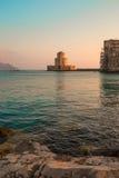 A torre de Bourtzi em Methoni, Peloponnese, Grécia Imagens de Stock Royalty Free