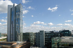 Torre de Broadgate y ciudad de Londres Foto de archivo