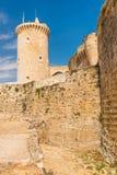 Torre de Castillo del castillo de Bellver en Majorca Imagenes de archivo