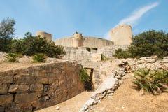 Torre de Castillo del castillo de Bellver en Majorca Foto de archivo
