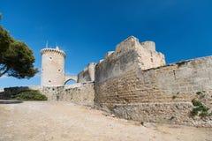 Torre de Castillo del castillo de Bellver en Majorca Fotos de archivo