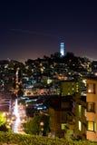 Torre de Coit en la noche imágenes de archivo libres de regalías