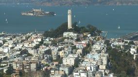Torre de Coit - opinión de la ciudad - lapso de tiempo - día - San Francisco - clip 1 almacen de video