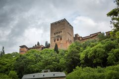 Torre de Comares,view from Albaicín Stock Images