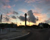 Torre de control aeropuerto Cancún. Amanecer en Cancún royalty free stock photography