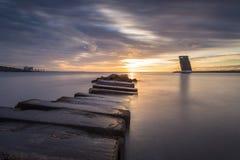 Torre de control del servicio del tráfico del buque Foto de archivo libre de regalías