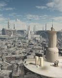 Torre de controlo em um Spaceport futuro da cidade Imagens de Stock Royalty Free