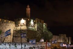Torre de David na noite fotografia de stock