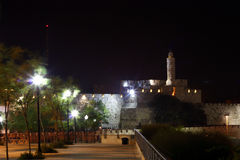 Torre de David (noite) Foto de Stock Royalty Free