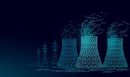 Torre de enfriamiento de la central nuclear bajo polivinílica 3d rinden el triángulo de ahorro del concepto del ambiente del plan stock de ilustración