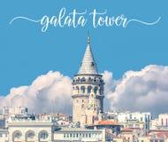 Torre de Galata en Estambul Turquía con el nombre escrito sobre la foto Imágenes de archivo libres de regalías