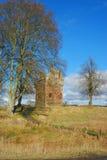 Torre de Greenknowe en el sol del invierno, fronteras escocesas imágenes de archivo libres de regalías
