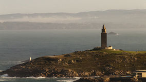 Torre de Hercules in La Coruña, Spain. Panoramic of only Roman lighthouse is still active around the world stock photo