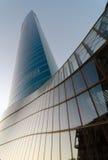 Torre de Iberdrola no por do sol Imagens de Stock Royalty Free