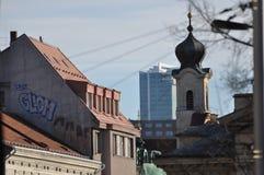 Torre de iglesia barroca, Praga Fotografía de archivo libre de regalías