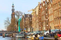 Torre de iglesia de Westerkerk en Amsterdam, Holanda Imagenes de archivo