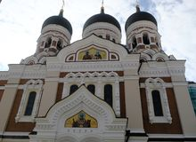 Torre de iglesia del ` s del St Olaf, Tallinn, Estonia Fotografía de archivo