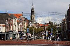 Torre de iglesia de Delft, Holanda imagen de archivo