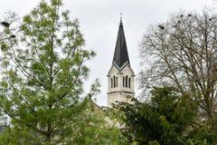 Torre de iglesia en Zurich - Suiza fotografía de archivo libre de regalías