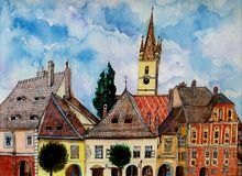Torre de iglesia evangélica de Sibiu Transilvania Fotos de archivo