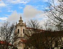 Torre de igreja atrás das árvores - convento de Maltezas - Centro Ciência Viva de Estremoz Foto de Stock Royalty Free