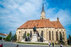 Torre de igreja de St Michael, Cluj Napoca, Romênia Imagens de Stock Royalty Free