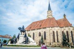 Torre de igreja de St Michael, Cluj Napoca, Romênia Foto de Stock