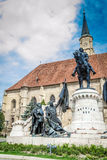 Torre de igreja de St Michael, Cluj Napoca, Romênia Fotos de Stock