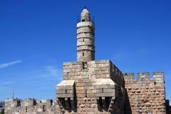 Torre de Jerusalén de las ruinas viejas de Zion Israel del soporte de la ciudad de David Imagenes de archivo