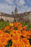 Torre de la abadía cluny detrás de las flores Imagen de archivo libre de regalías