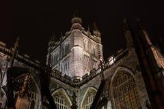 Torre de la abadía del baño en la noche, mirando del sur Fotografía de archivo libre de regalías